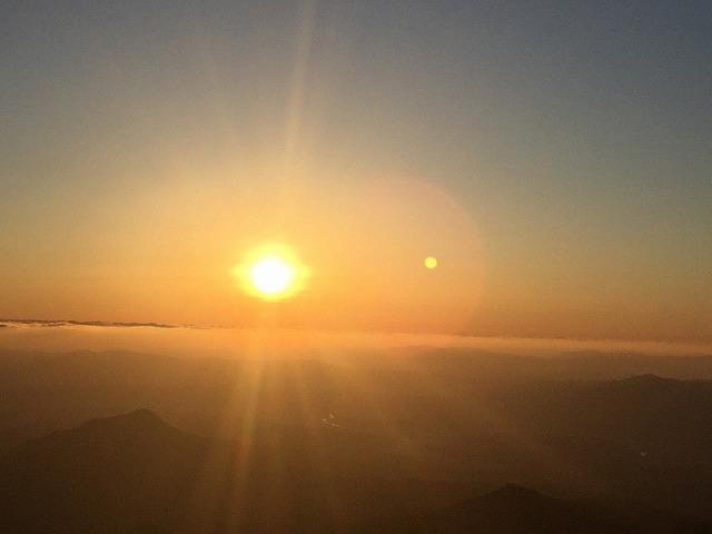 鶴見岳から見た初日の出