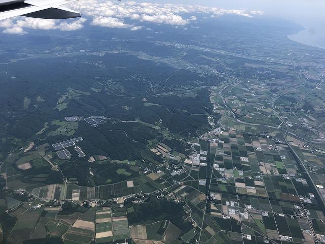 北海道の平野 上空から